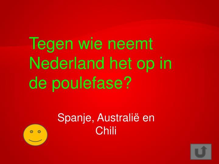 Tegen wie neemt Nederland het op in de poulefase?