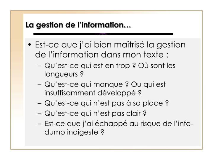 La gestion de l'information…