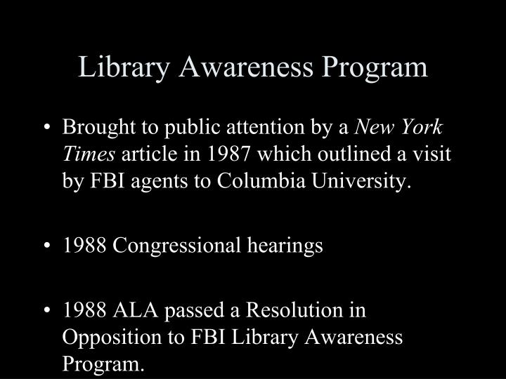 Library Awareness Program
