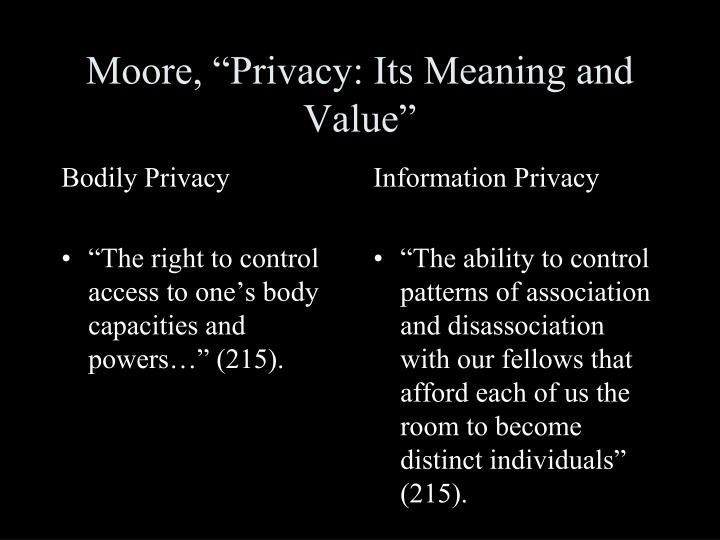Moore privacy its meaning and value