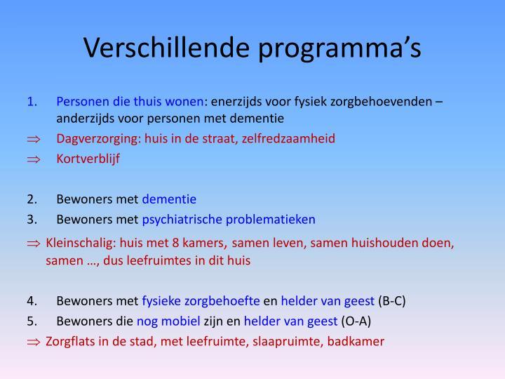 Verschillende programma's
