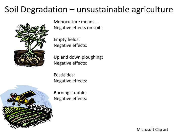 Soil Degradation – unsustainable agriculture