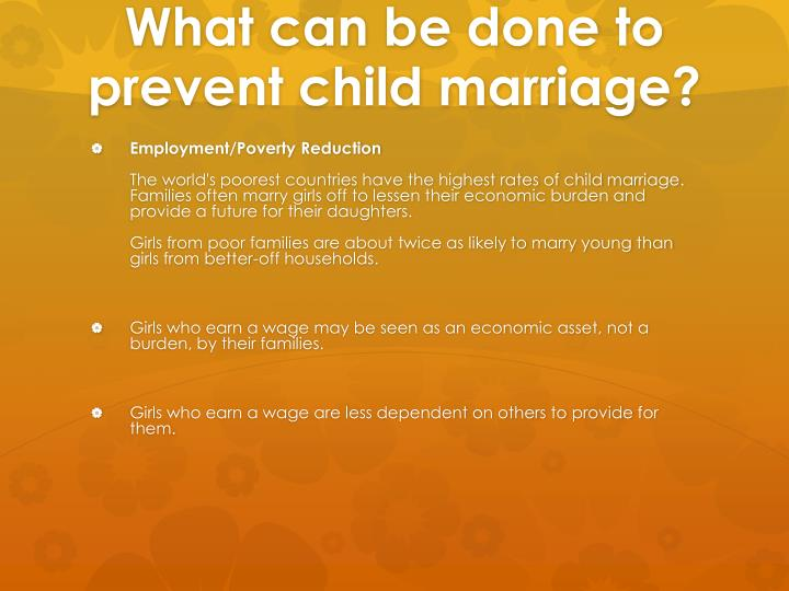 What can be done to prevent child marriage?