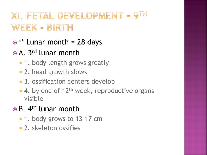 xi. Fetal development – 9