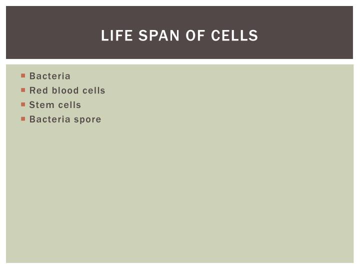 Life Span of cells