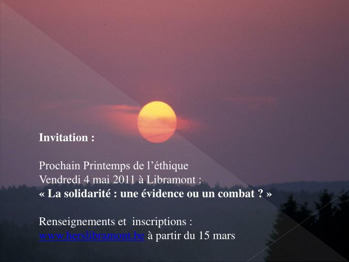 Invitation :