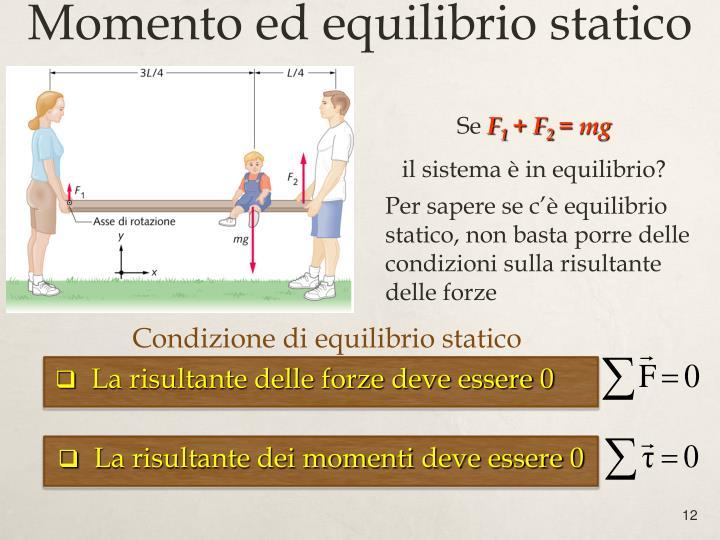 Condizione di equilibrio statico
