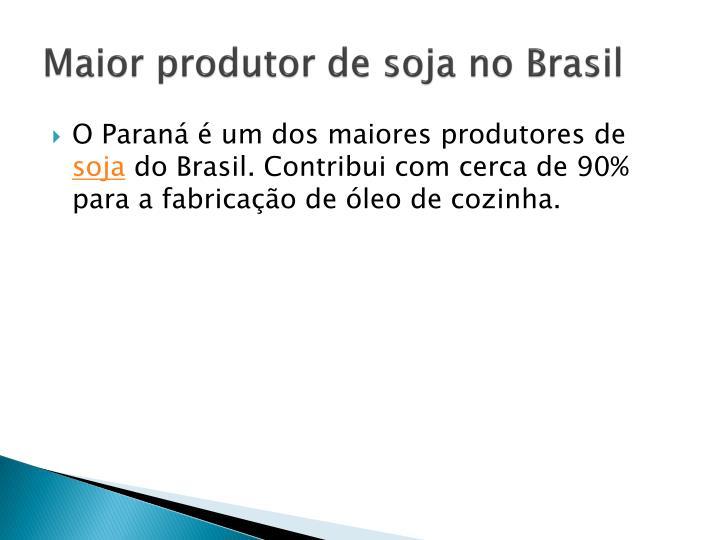 Maior produtor de soja no Brasil
