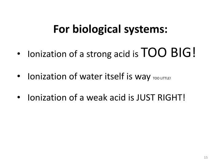 For biological systems: