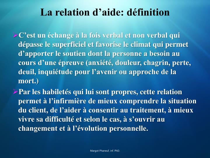 La relation d'aide: définition