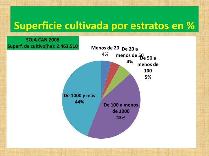 Superficie cultivada por estratos en %