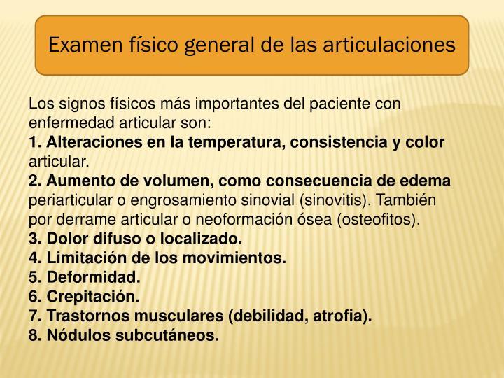 Examen físico general de las articulaciones