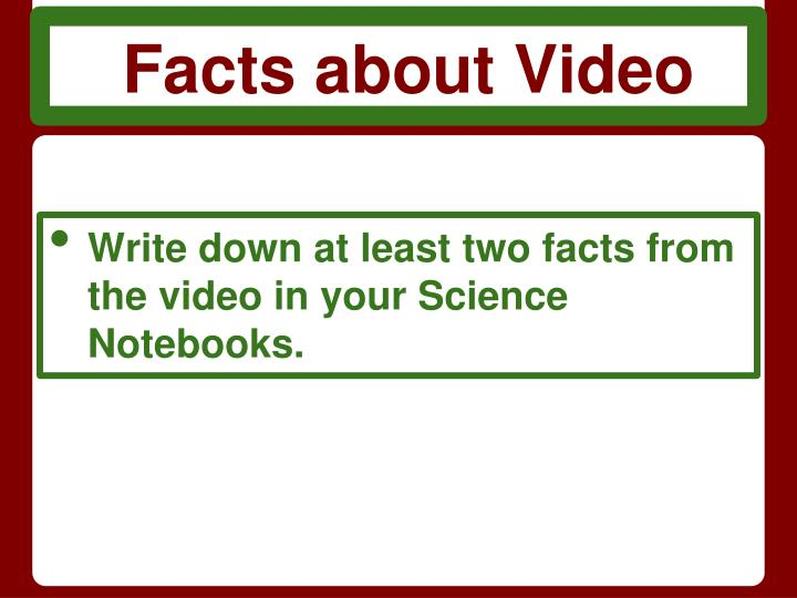Facts about Video