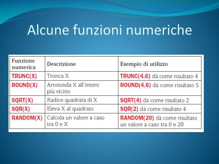 Alcune funzioni numeriche