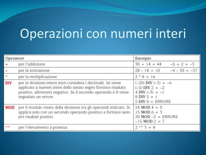 Operazioni con numeri interi