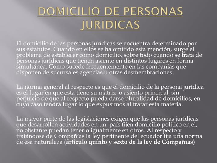 DOMICILIO DE PERSONAS