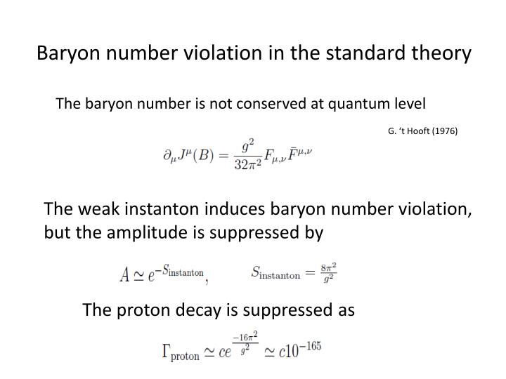 Baryon number violation in the standard theory