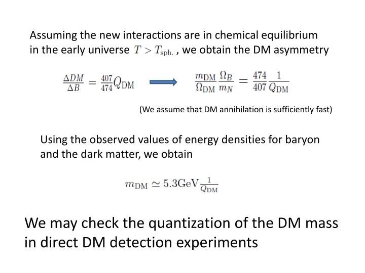 Assuming the new interactions are in chemical equilibrium