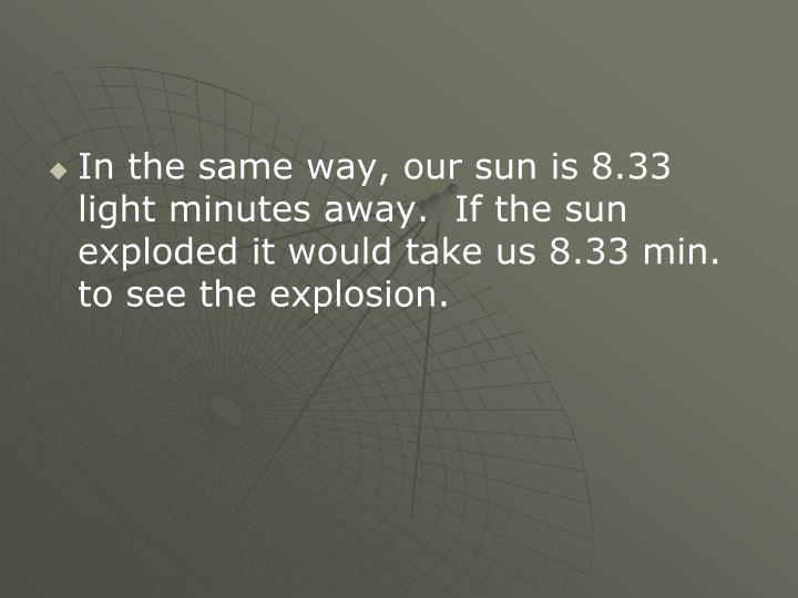 In the same way, our sun is 8.33 light minutes away.  If the sun exploded it would take us 8.33 min. to see the explosion.