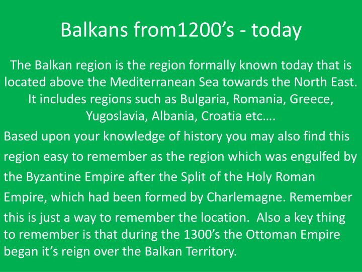 Balkans from1200 s today