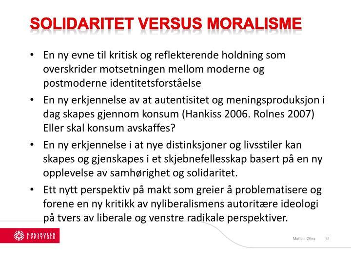 Solidaritet Versus Moralisme