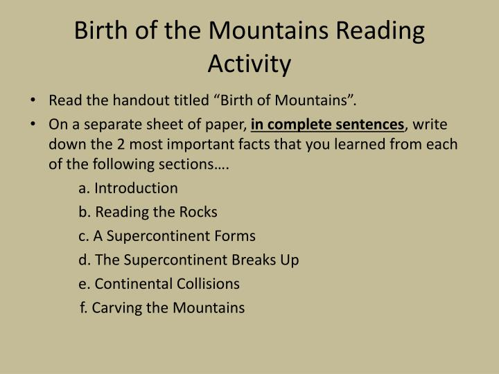 Birth of the Mountains Reading Activity