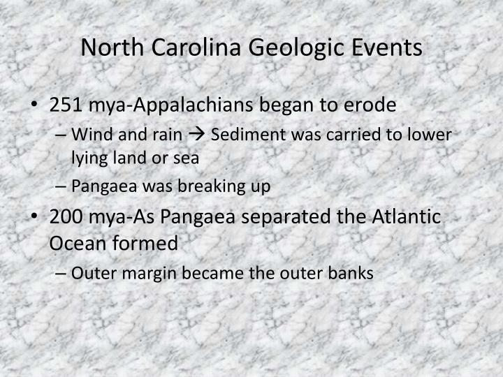 North Carolina Geologic Events