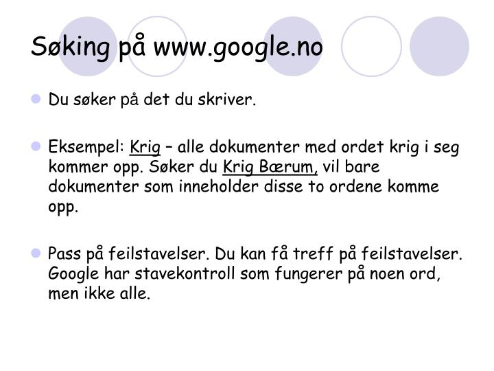 Søking på www.google.no