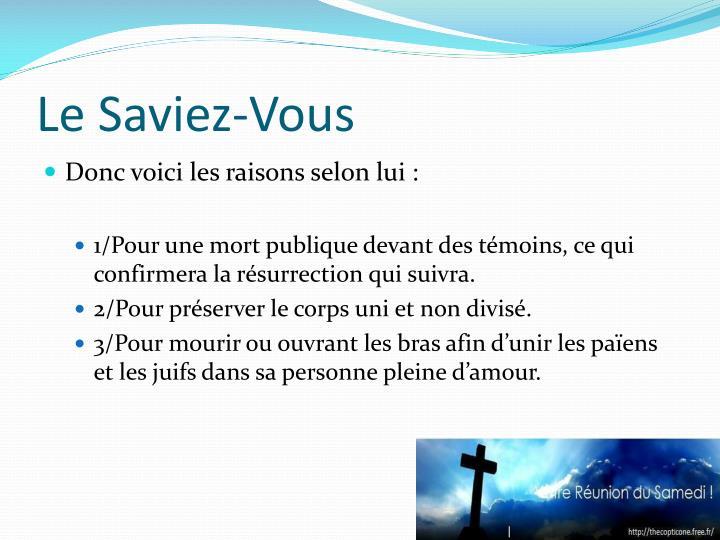 Le Saviez-Vous