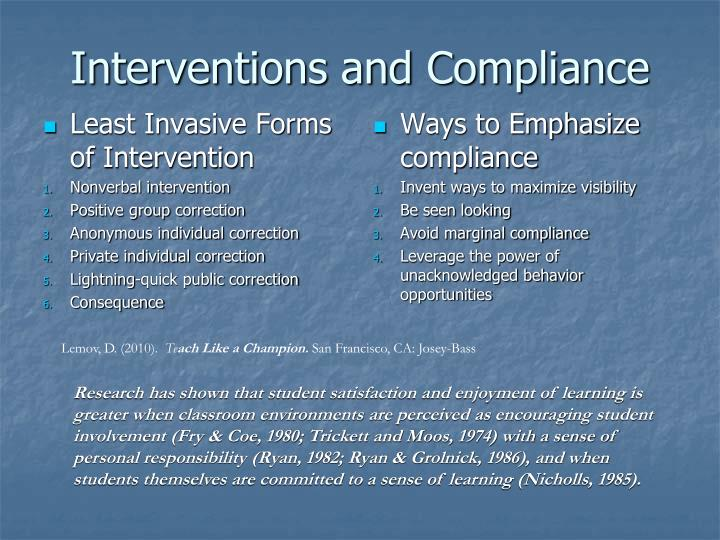 Interventions and Compliance