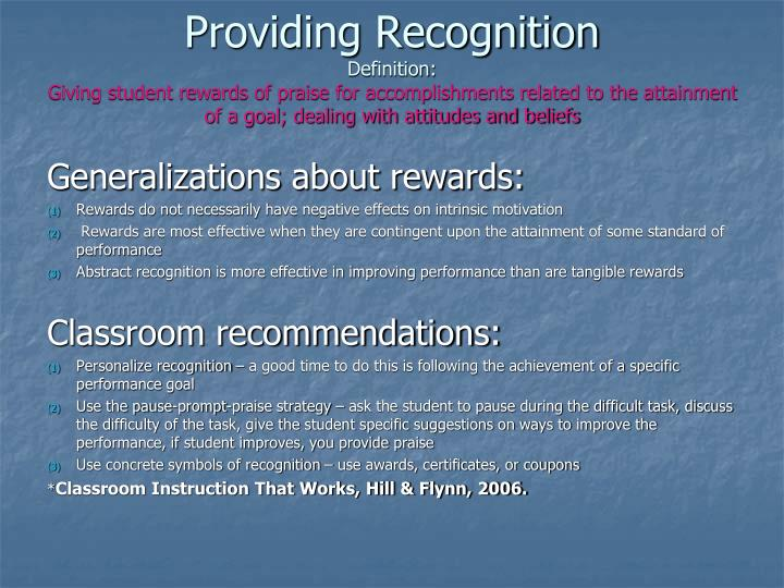 Providing Recognition