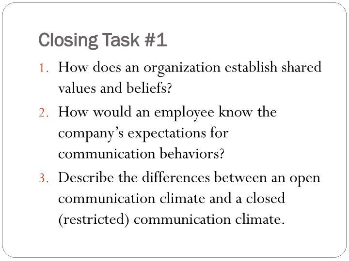 Closing Task #1