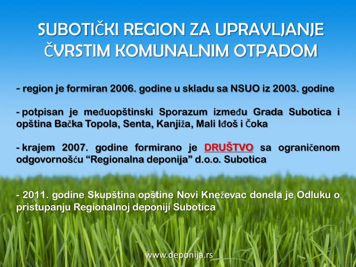 region je formiran 2006. godine u skladu sa NSUO iz 2003. godine