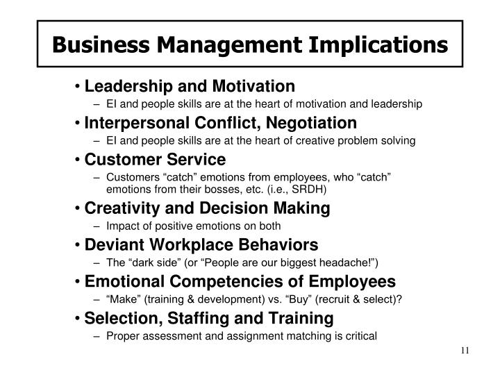 Business Management Implications