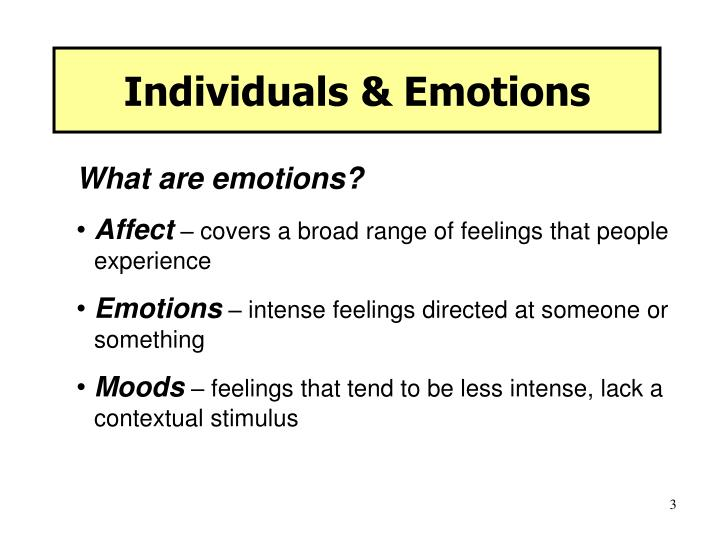 Individuals emotions