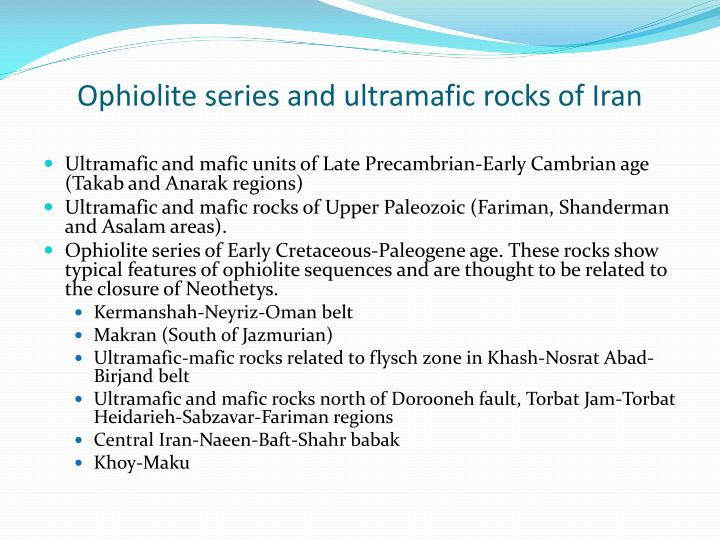 Ophiolite series and ultramafic rocks of Iran