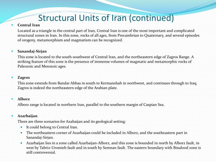 Structural Units of Iran (continued)