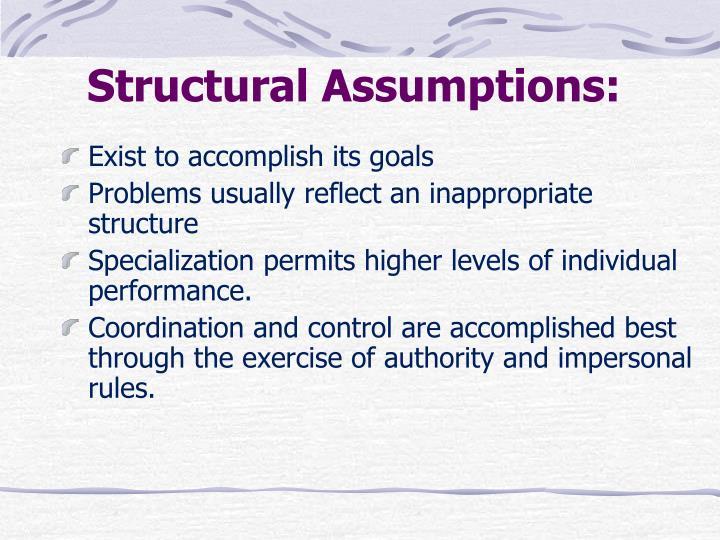Structural Assumptions: