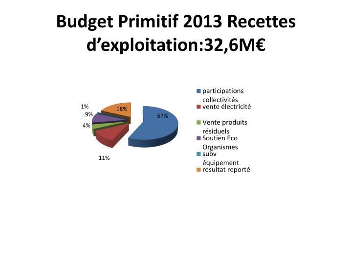 Budget Primitif 2013 Recettes d'exploitation:32,6M€