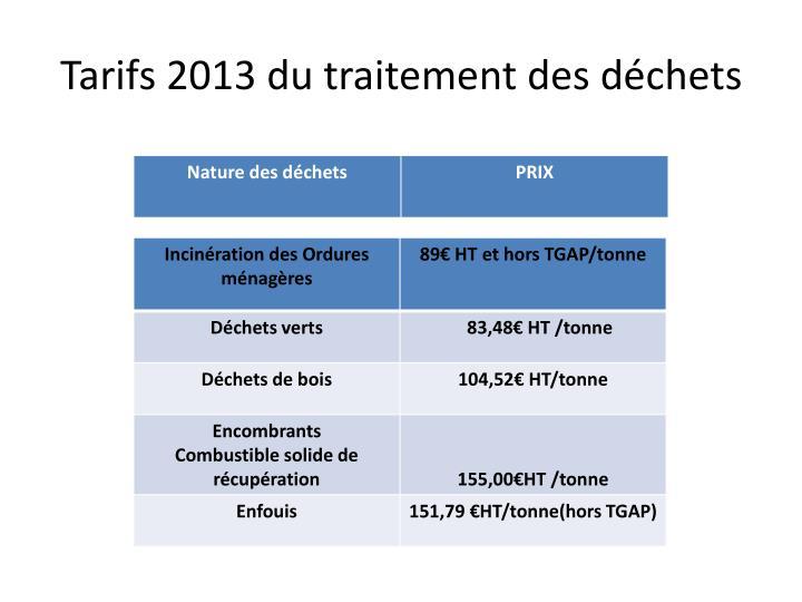 Tarifs 2013 du traitement des déchets