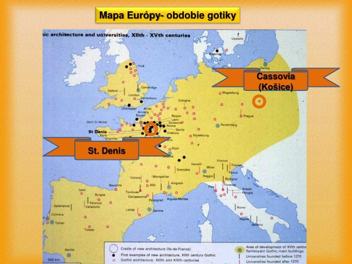 Mapa Európy- obdobie gotiky