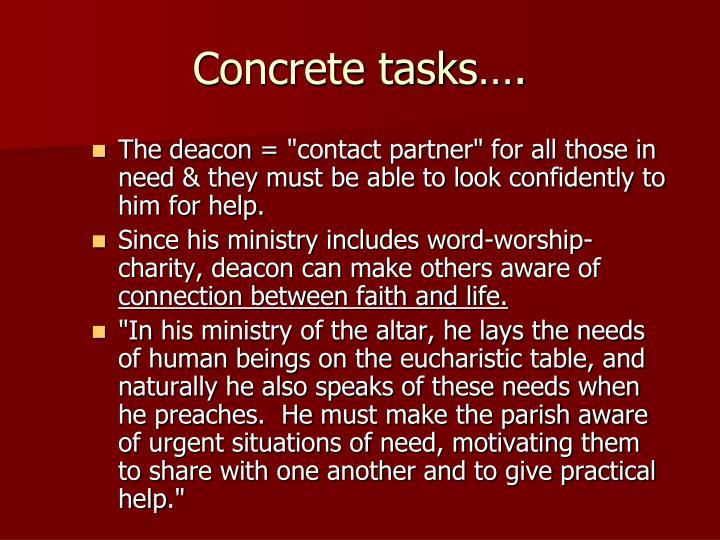 Concrete tasks….
