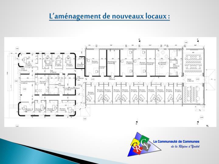 L'aménagement de nouveaux locaux :