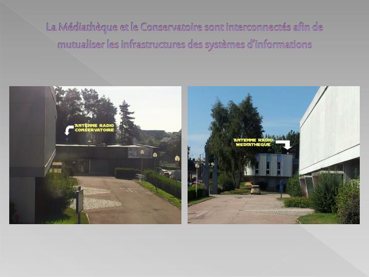La Médiathèque et le Conservatoire sont interconnectés afin de mutualiser les infrastructures des systèmes d'informations