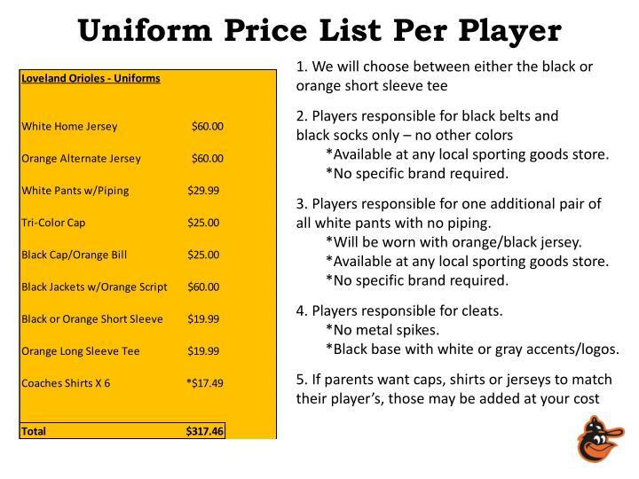 Uniform Price List Per Player