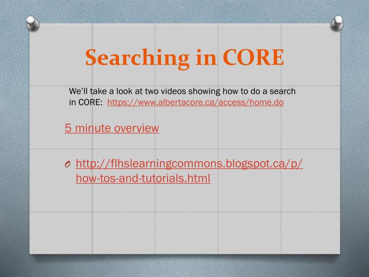 Searching in CORE