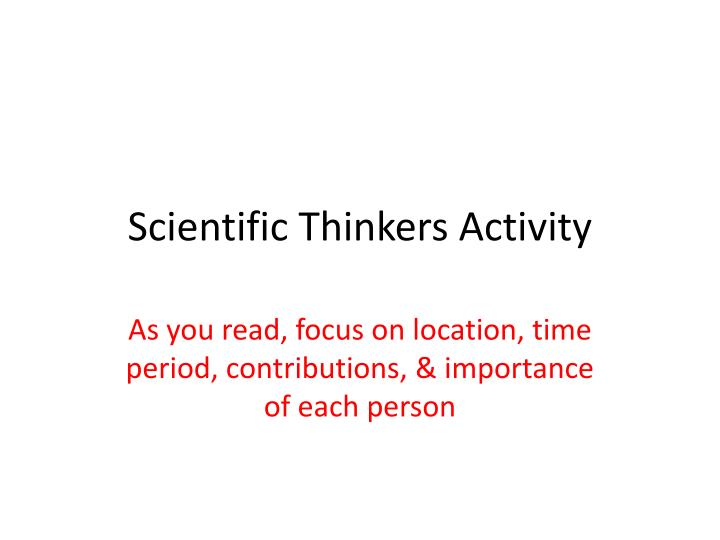 Scientific thinkers activity