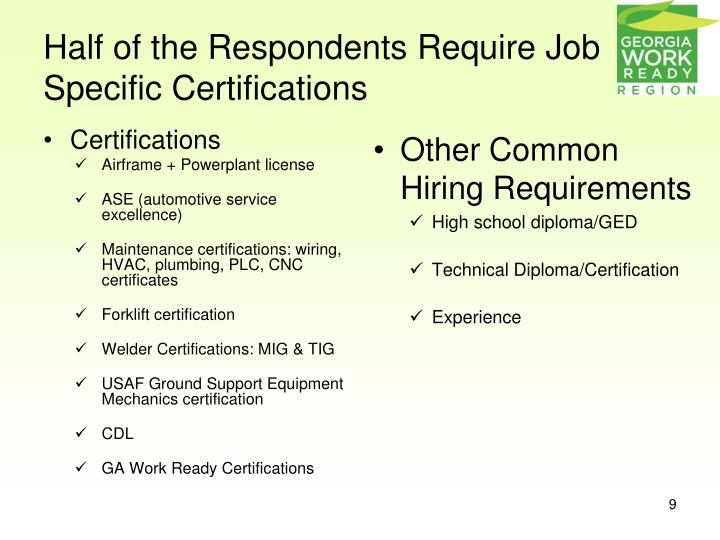 Half of the Respondents Require Job Specific Certifications