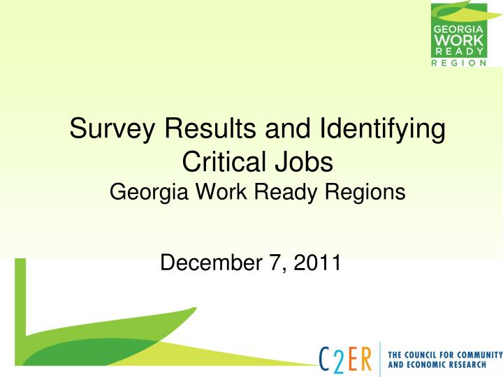 Survey results and identifying critical jobs georgia work ready regions