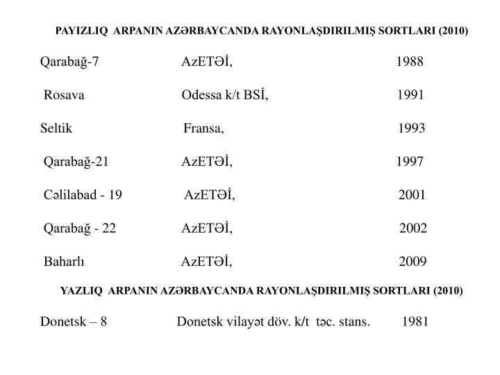PAYIZLIQ  ARPANIN AZƏRBAYCANDA RAYONLAŞDIRILMIŞ SORTLARI (2010)